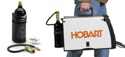 Compatible with many popular MIG welders, Hobart's Portable CO2 Cylinder Kit is sold separately, MSRP $119, or comes bundled with Hobart's Handler 140 MSRP $599.