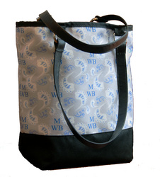 Wedding tote featuring bride's monogram in personalized print.