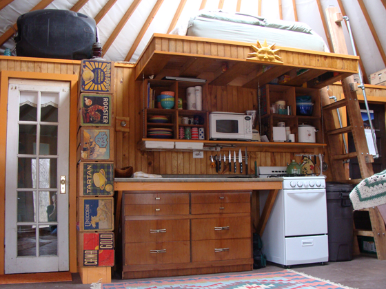 The Yurt Kitchen.The Kitchen Located Under The Loft Has Lots Of Style And  Functionality.