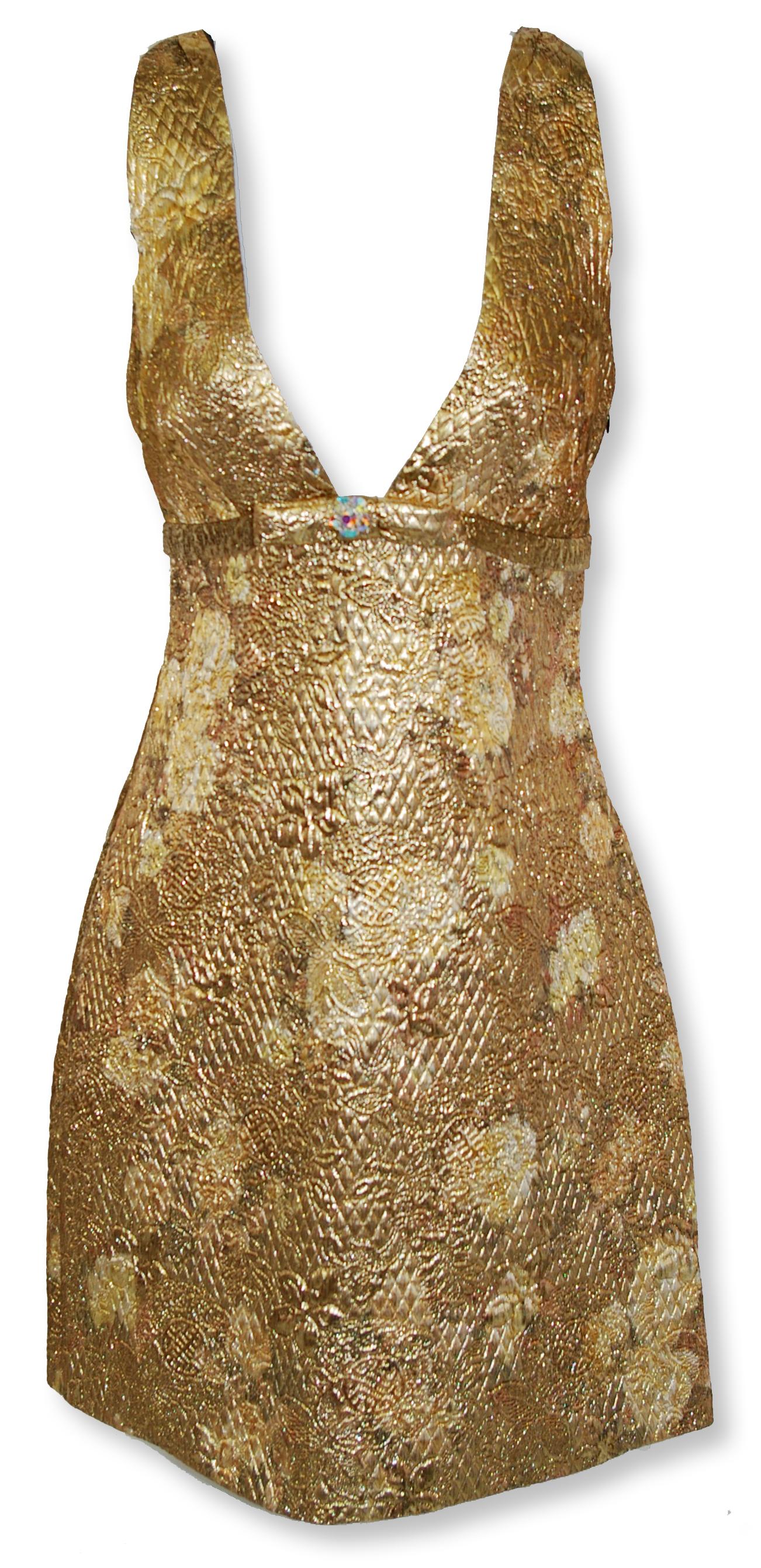 Gold Brocade Dress For