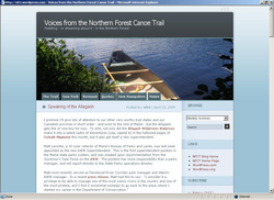 "Northern Forest Canoe Trail ""Voices From The Trail"" blog homepage."