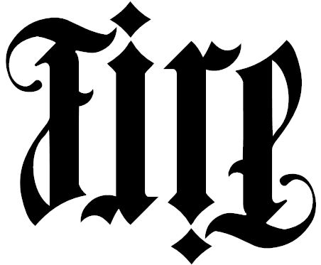 And here is another Ambigram tattoo that says 'Family' reading left to right. A Fire ambigram was branded onto a cardinal in one of the most violent