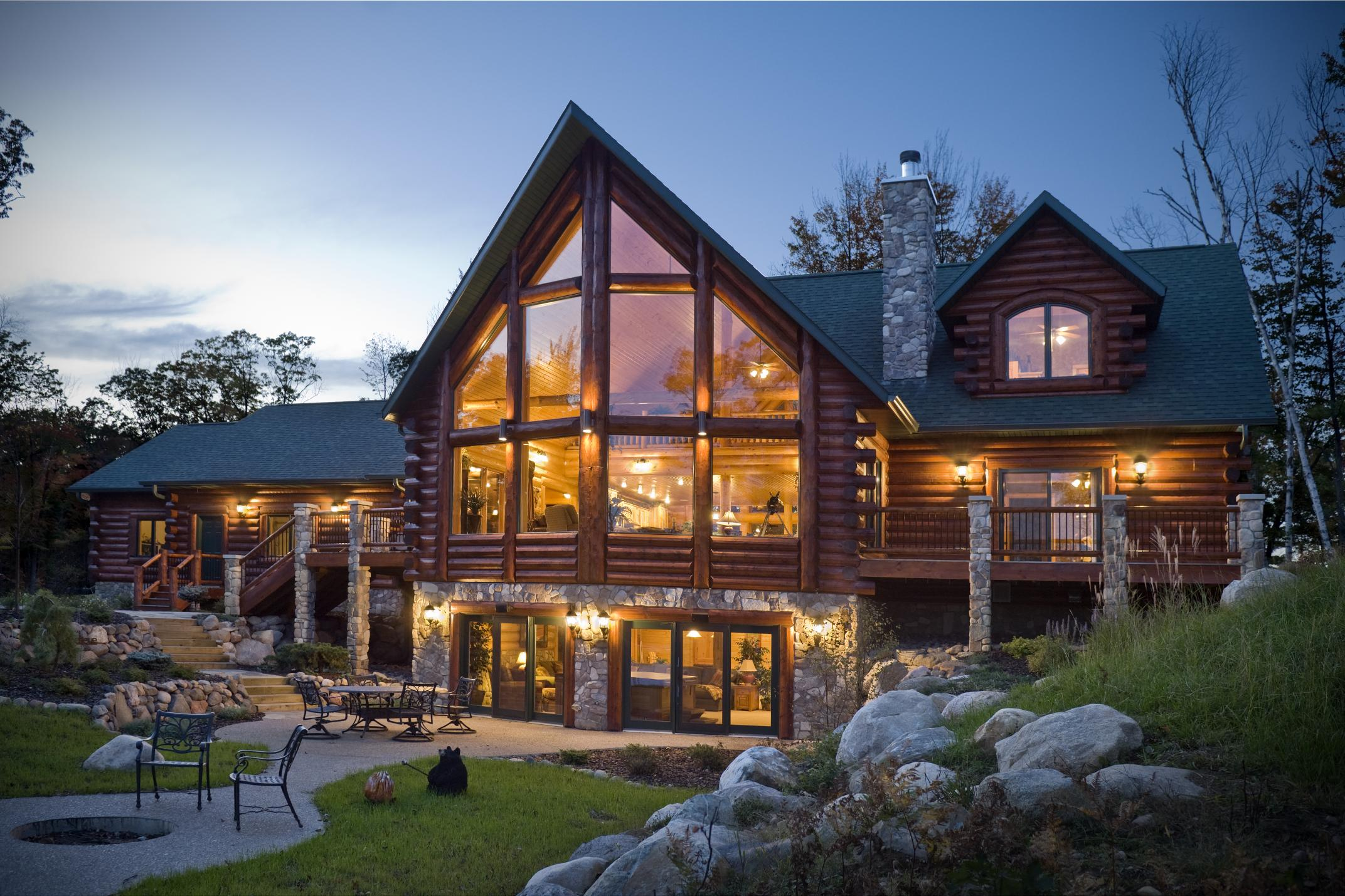Log home built by and photo courtesy of Golden Eagle Log Homes