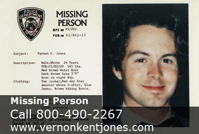... NYPD Postcard Of Missing Person, Vernon Kent Jones ...  Missing People Posters