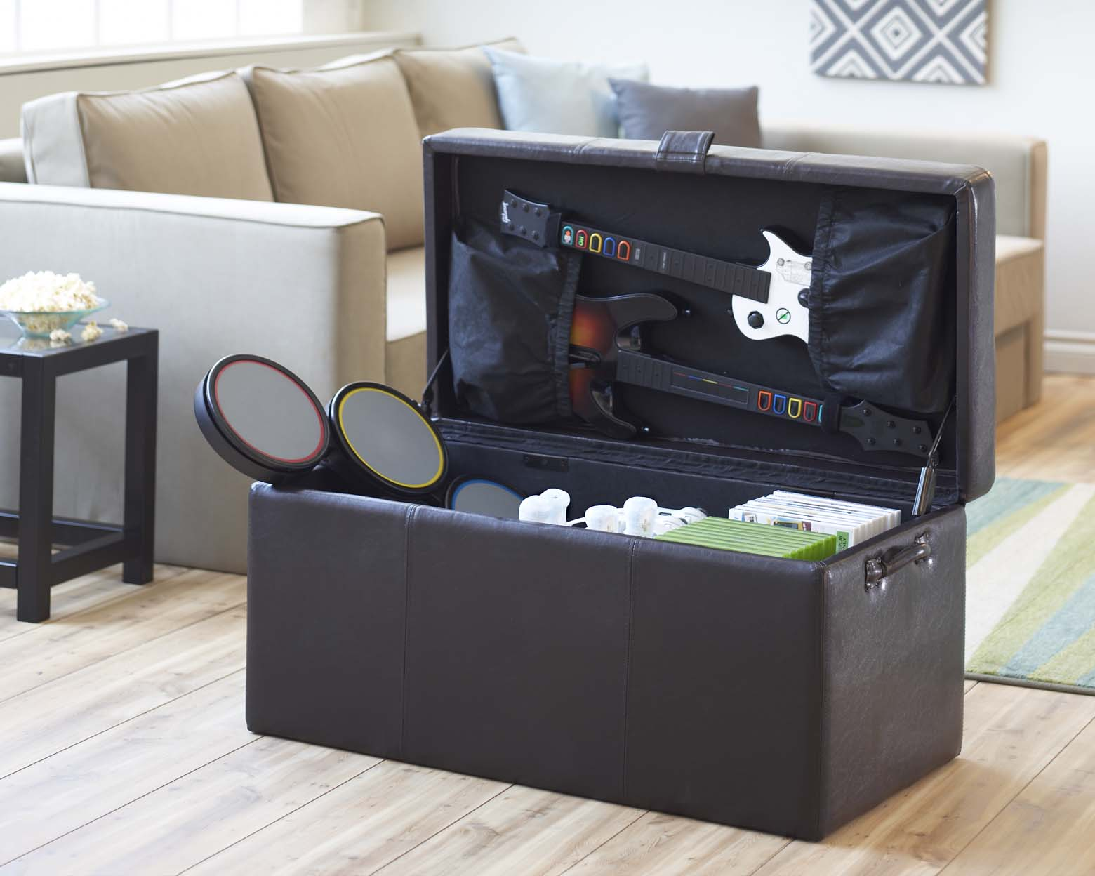 LevelUp Universal Double Gaming Ottoman is an all-in-one storage - Video Game Storage Ottoman House PR