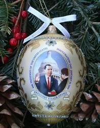 A Handcrafted White House Christmas Ornament Depicting ...