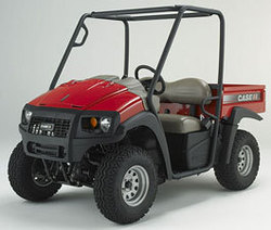 Case IH is introducing a new line of rugged, four-wheel drive utility vehicles. This compact Case IH Scout UTV has a 14 hp gas engine, can reach 25 mph and fits in the back of a pickup.