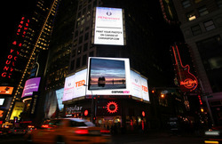 A CanvasPop Client's art piece displayed in Time Square.