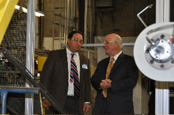 US Senator Cardin Marvels at Marlin Steel Wire's newest robot bending parts for European factory