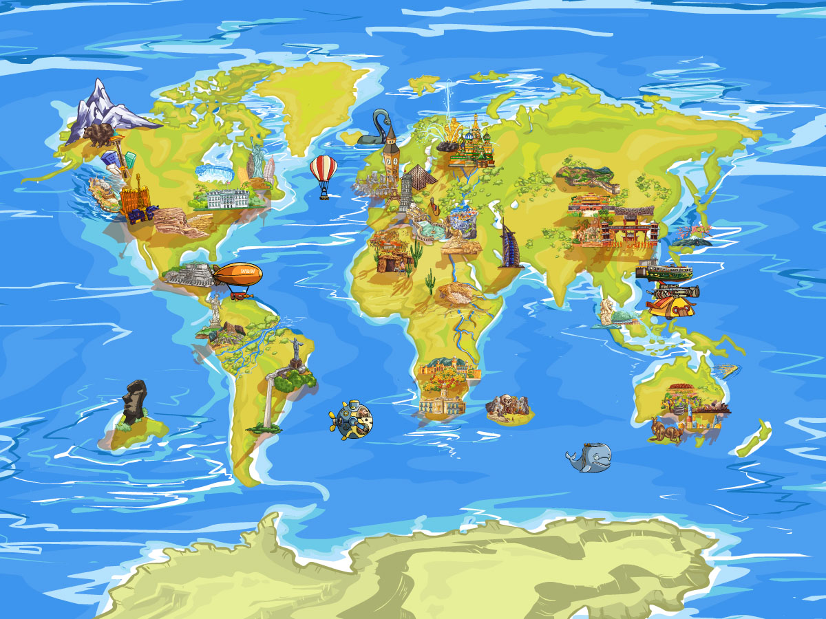 Hidden object game reveals magic maps secrets travel across 6 continentscartos magic maps features locations in countries across 6 continents gumiabroncs Choice Image
