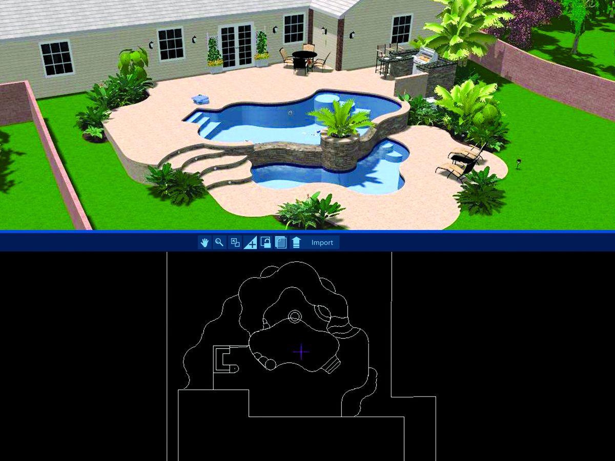 Now import directly from 2d autocad files into pool for Pool design templates