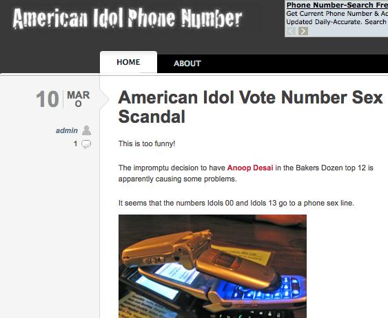 american idol phone numbers