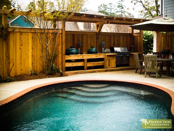 Beautiful Pool Privacy Fence Decks Magnetic Deck Plans Around