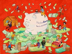 2010 Roll in the Dough Campaign poster by artist Joan Lok