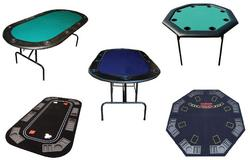 Picture of several folding poker tables and tops