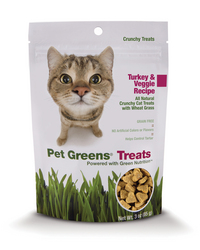 New Pet Greens Crunchy Cat Treats,  all-natural Turkey & Veggie recipe, made with nutritious greens, turkey, and other wholesome ingredients.  Recipe is grain free and contains no wheat gluten, no corn, no soy, and no artificial colors or flavors. wheat grass, wheatgrass, catgrass, cat grass, pet products, cat products