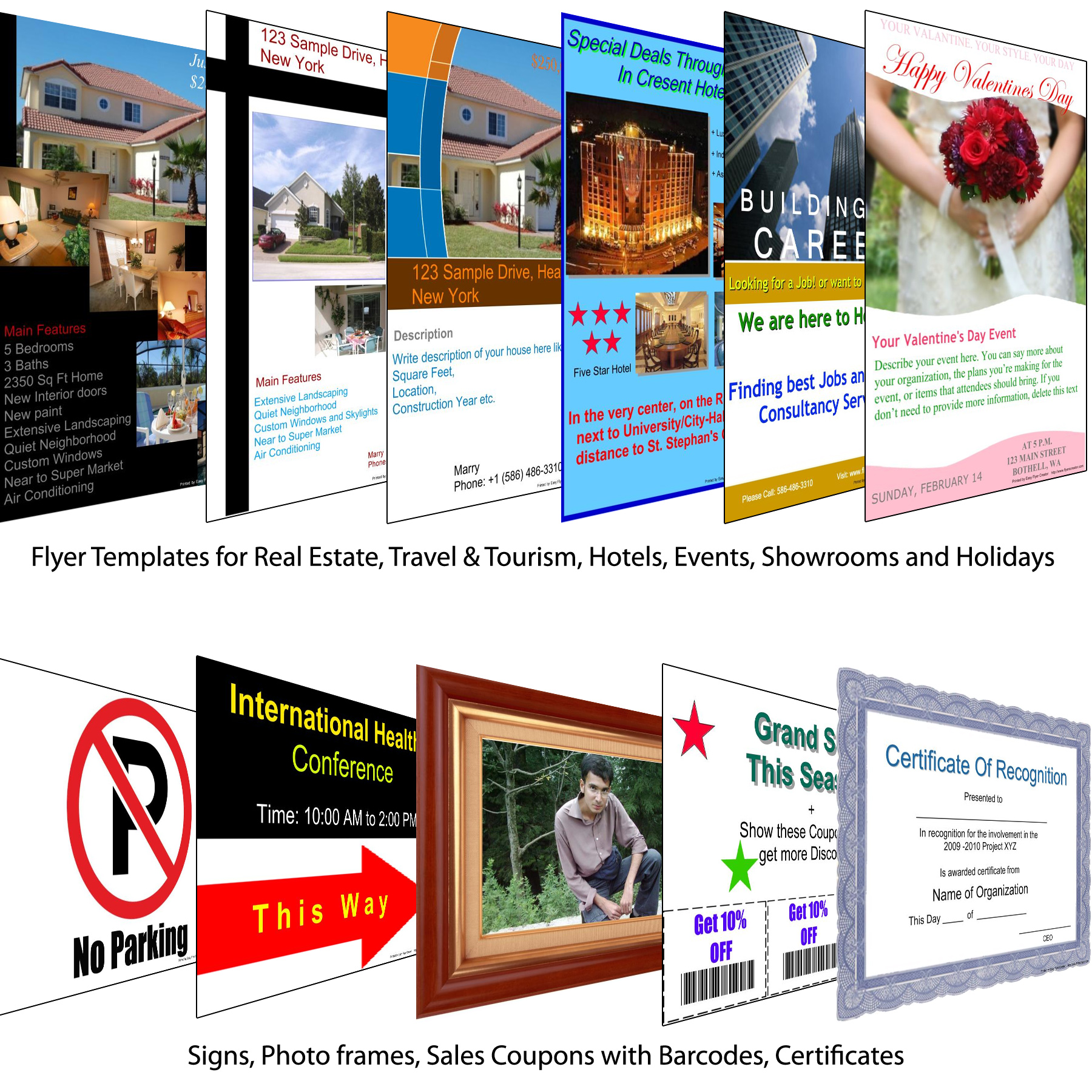 Built-in Templates for FLYERS, Brochures, Certificates, Photo Frames ...
