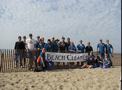 beach cleanup with biodegradable trash bags