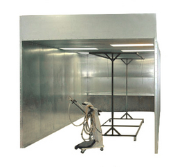 Reliant Finishing Systems' batch powder coating booth for use with Reliant dry-off ovens and powder curing ovens in industrial, aerospace or automotive operations where powder coating media is manually applied and cured in batches