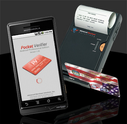 Swipe credit cards and print receipts on your Android phone with the bluetooth Pocket Spectrum and Pocket Verifier Professional software.