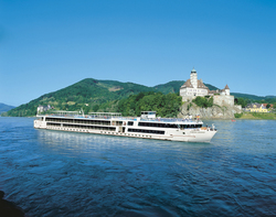 Viking Legend, representing the new class of Viking River Cruises European ships, sailing along the Danube. Interview opportunities available.