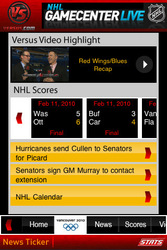 Versus NHL Application for smart phone by Advanced Mobile Solutions