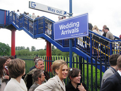 Sign for the private train, the Wedding Express