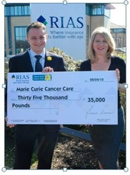 Marie Curie Cancer Care's Corporate Development Executive Michael Straney receiving cheque from RIAS' Managing Director Janet Connor.