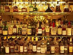 Some of the 270 whiskies available at The Athenaeum Hotel's Whisky Bar in London UK