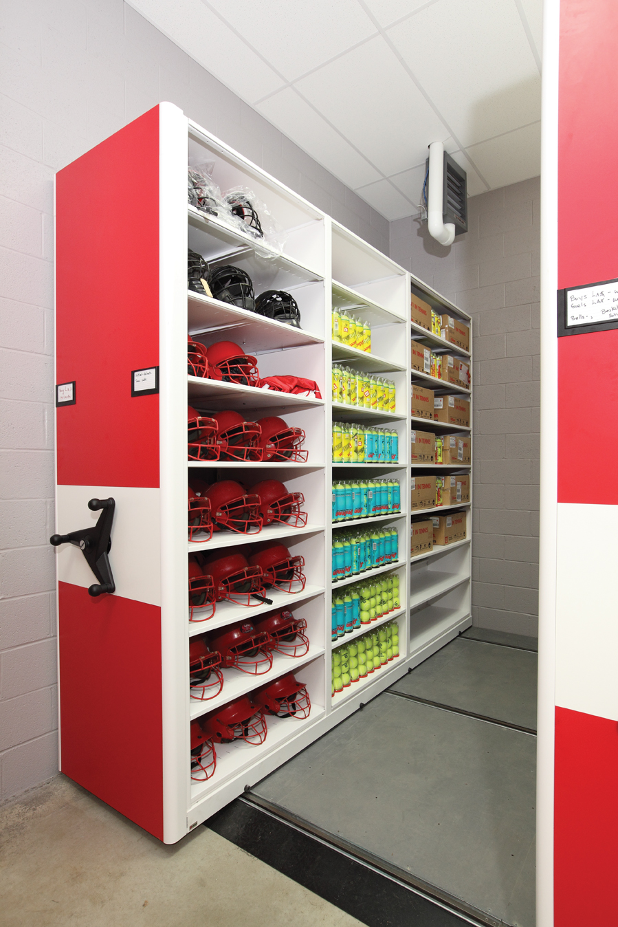 Mobiletrak3 Organizes Helmets Tennis And More Storage System Helps To Organize Athletic Equipment For Souderton High School