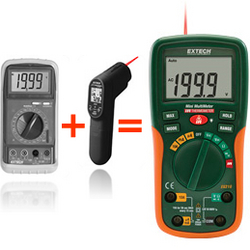 Extech's EX210 2-in-1 DMM features Infrared Thermometer