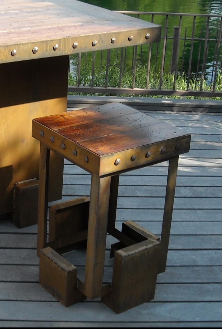Patio And Garden Furniture Sinker Cypress Bar StoolSinker Cypress Bar Stool  With Cor Ten Steel Base.