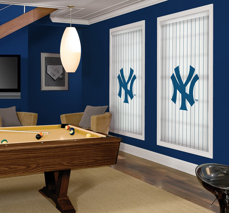 Officially Licensed MLBTM Logo Roller ShadesGame Room Featuring Shades With The Yankees