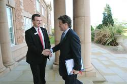 Bank of America CEO and President Brian Moynihan meets Europe Credit Card executive for Bank of America Ian O'Doherty at MBNA Chester