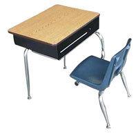 Open front combination school desk