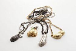 Gold vermeil peanut necklace