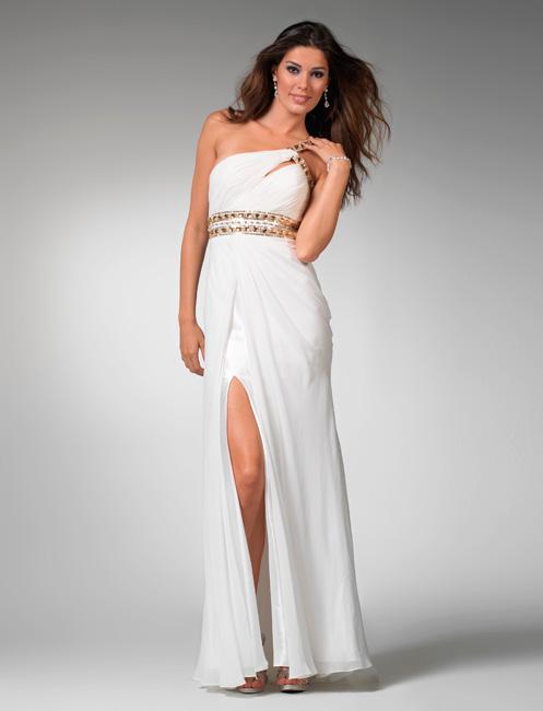 White One Shoulder Prom Dresses - Long Dresses Online