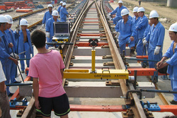 Slab Track construction site for Olympic High Speed Line Beijing - Tianjin
