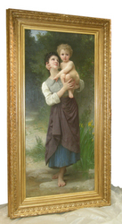 "Demi Moore's ""Frère et Soeur"", painted by the great French Academic painter, William Bouguereau, framed by Eli Wilner & Company"