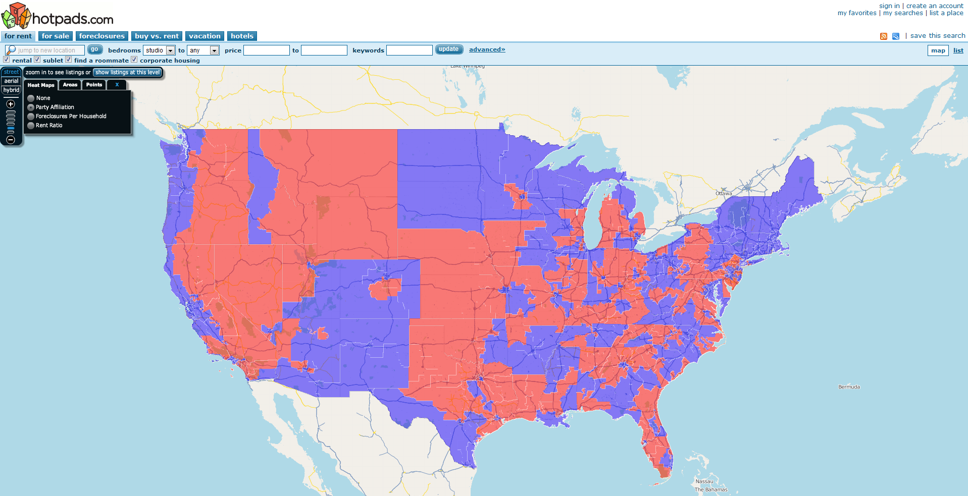 HotPads Foreclosure Maps Heat Up Congressional Elections - Us political party map