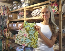Founder and CEO Monica Danielski in the LittleStar Warehouse