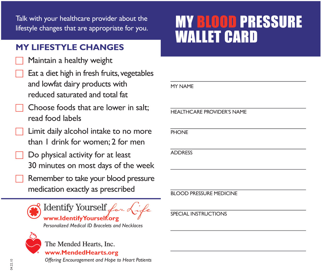 blood pressure record card