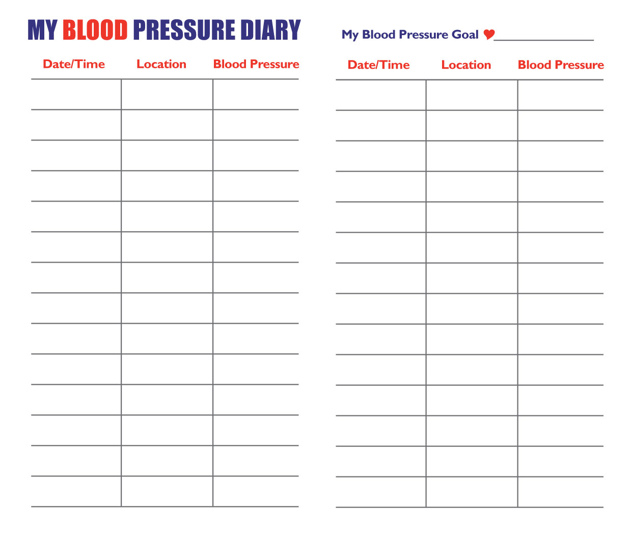blood pressure record chart printable