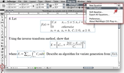 MathMagic Pro for InDesign, MathMagic plug-in menu, InDesign sample equations