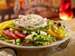 Salad, Pizza, Beer, Greek, Mellow, Mushroom, Onions, Tomatoes, Banana Peppers, Fresh, Delicious, Healthy