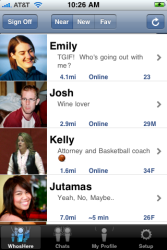 A screen shot of nearby users in WhosHere
