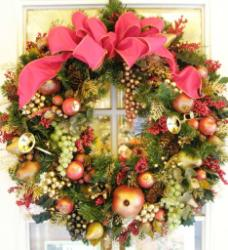 blooming floral design creates christmas wreaths in san francisco