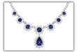 Sapphire pear drop cubic zirconia necklace