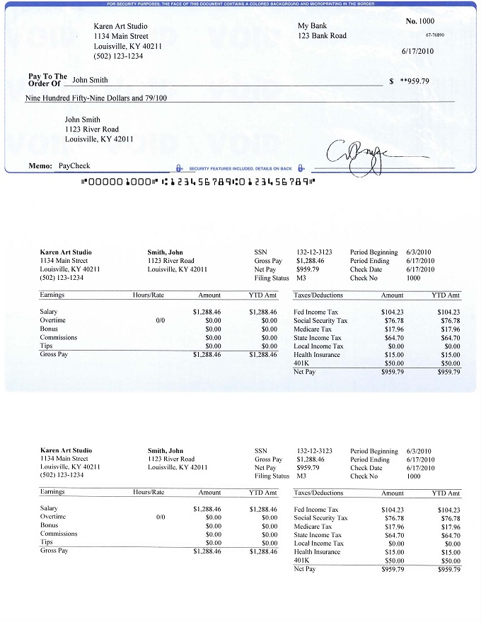 check on top format payroll check printed by ezpaycheck payroll ...