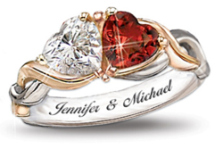 two hearts valentines rings